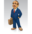 adult business man in suit and bring the briefcase vector image