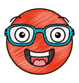 face kawaii with glasses character vector image