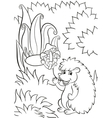 Little cute hedgehog waves and smiles vector image