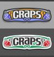 logo for craps gamble vector image