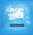 study process web banner with copy space on blue vector image