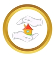 House in hands icon vector image
