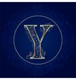 Vintage floral alphabet letter Y vector image vector image