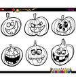 halloween pumpkins coloring page vector image vector image