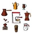Coffee icons around the coffee machine vector image vector image