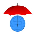 Globe under red umbrella vector image