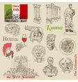Set of Rome doodles vector image