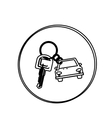 silhouette circular shape with car keychain icon vector image