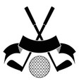 black crossed golf ball logo vector image