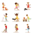 Children And Cats Set With Kids vector image
