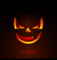 happy halloween with creepy pumpkin face on dark vector image