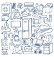 Household appliances hand drawn set vector image