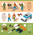 hunting isometric banners vector image