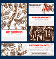 medical banner template set of bone joint x-ray vector image