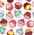 Seamless pattern with different cupcakes on a vector image