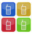 set of four square icons - old mobile phone vector image