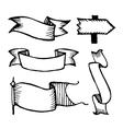 hand drawn sketch ribbons vector image