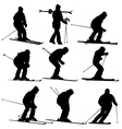 Set mountain skier speeding down slope vector image