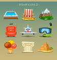 funny travel icons-set 2 vector image vector image