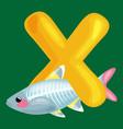 animals alphabet for kids fish letter x cartoon vector image