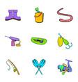 fish lake icons set cartoon style vector image vector image