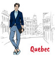 man in quebec vector image
