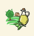 olive with leaves and bottle vector image vector image