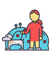 pets care dog with woman animal help flat line vector image