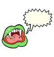 cartoon vampire lips with thought bubble vector image