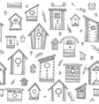 seamless pattern with ethnic bird houses vector image