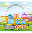 Children and school bus in the park vector image vector image