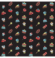 Seamless pattern of bakery and cake icons Candy vector image