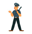 strong policeman in good mood isolated on white vector image