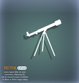 Telescope icon On the blue-green abstract vector image