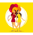 two young girls with bunch of balloons on vector image