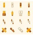 USB icons flat yellow set vector image