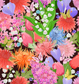 colorful seamless texture with different flowers vector image vector image