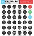 Shopping circle white black icon set vector image