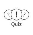 black thin line quiz logo vector image