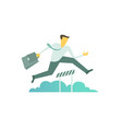 businessman run jumps overcoming the barrier vector image