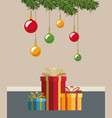 christmas home scene with garlands pendant of vector image