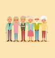 cute group senior people embracing together happy vector image