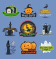 halloween trick or treat holiday icons vector image
