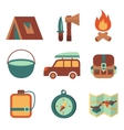 Outdoors tourism camping flat icons set vector image