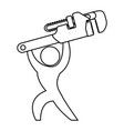 worker with wrench pictogram vector image