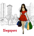 couple on orchard road in singapore vector image