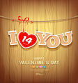 Valentines with text i love you and red ribbons vector image