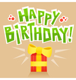Birthday card background with lettering and gift vector image