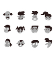 black cartoon people icon vector image
