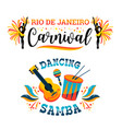 brazilian carnival big set of emblems vector image